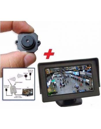 Micro Mini Câmera Espiã Sem Fio Kit Com Mini Monitor LCD