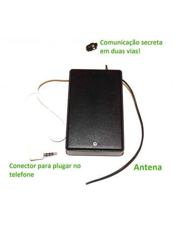 Sistema de comunicação espião com ponto de ouvido bidirecional e conexão via celular