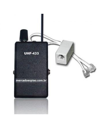 ADAPTADOR LINHA FIXA UHF 433MHZ E RECEPTOR UHF CRYSTAL CONTROLLED PLL 400 METROS